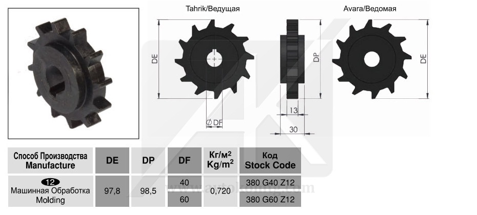 Spiral conveyors belts sprockets